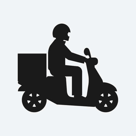 Delivery food service. Man on motorcycle black silhouette. Vector illustration Illustration