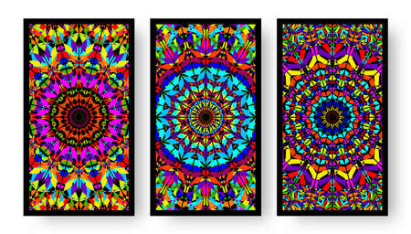Bright colorful business cards collection with kaleidoscope pattern. Vector illustration