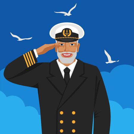 Captain of sea ship in uniform saluting. Vector illustration