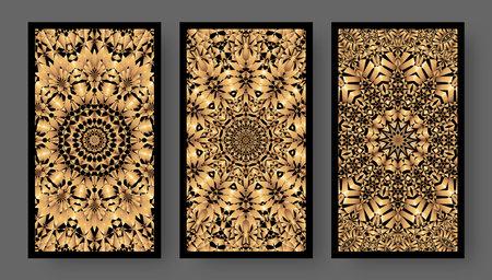 Tarot cards back set with golden pattern. Vector illustration