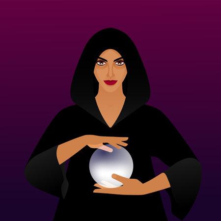 Fortune teller with magic ball. Vector illustration Illustration