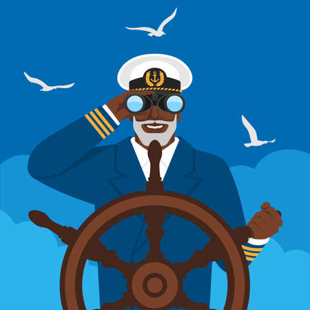 Black male captain looking through binoculars standing at helm of boat. Vector illustration