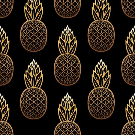 Golden pineapple seamless pattern on black background. Vector illustration