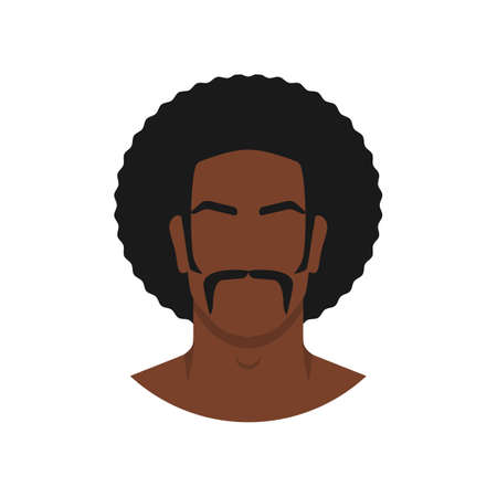 Face of black man with retro afro hairstyle. Vector illustration
