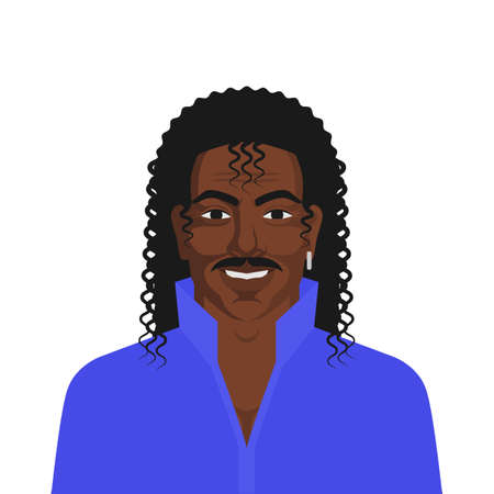 Handsome black man with retro hairstyle long curly hair. Vector illustration Illustration