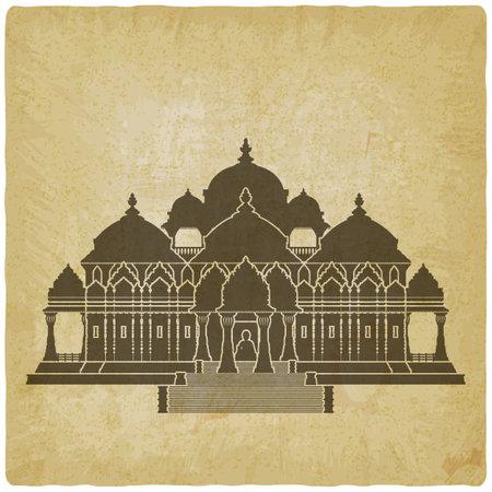 Swaminarayan Akshardham Hindu Temple on vintage background. Vector illustration Illustration