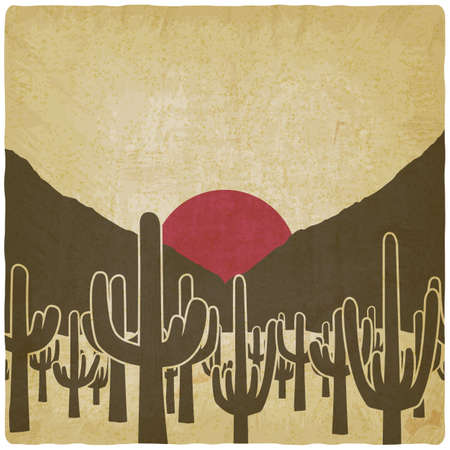 Silhouettes of cactus plant on background of the sun. Vector illustration