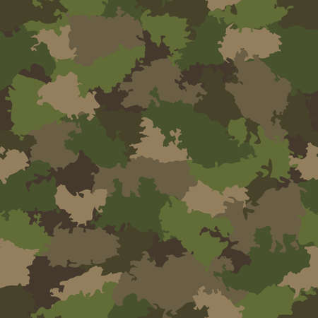 Green and brown camouflage seamless pattern. Vector illustration Illustration