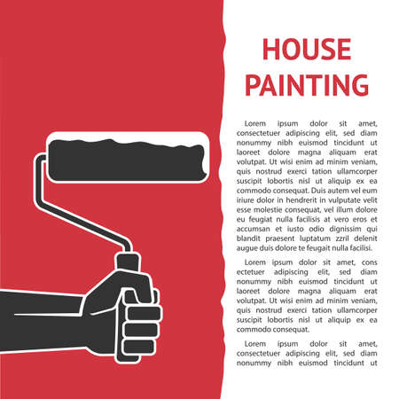 Houses painting. Hand with paint roller. Vector illustration