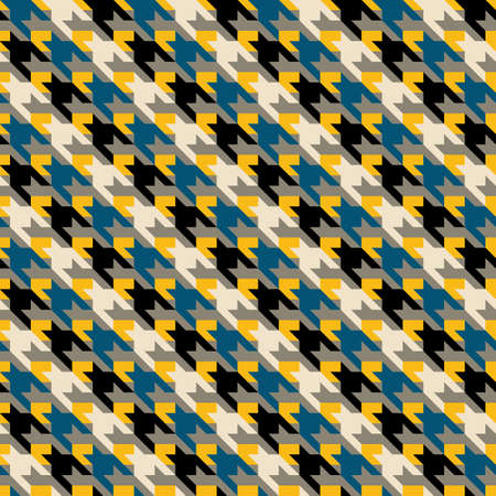 Multicolor geometric abstract houndstooth seamless pattern. Vector illustration Illustration