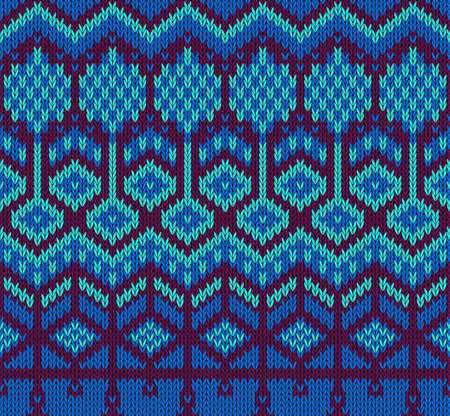 Knitted sweater seamless pattern in blue colors. Vector illustration Illustration