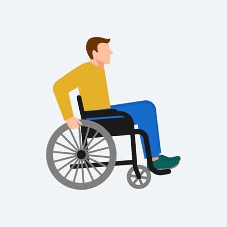 Young disabled man sitting in wheelchair on white background. Vector illustration