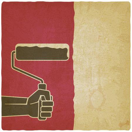 Hand with paint roller on vintage background. Vector illustration Illustration