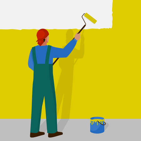 Man paints the wall yellow with a paint roller. Vector illustration