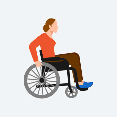 Young disabled woman sitting in wheelchair on white background. Vector illustration Illustration