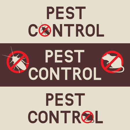 Pest control banners with a cockroach and rat. Vector background