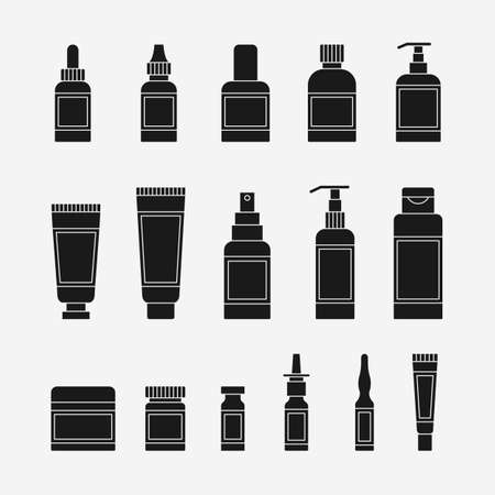 Black cosmetics and medical packaging icons set. Vector illustration