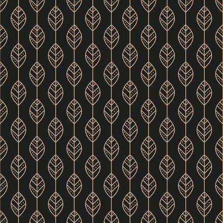 Geometric stylized leaf seamless pattern on black background. Vector illustration Illustration