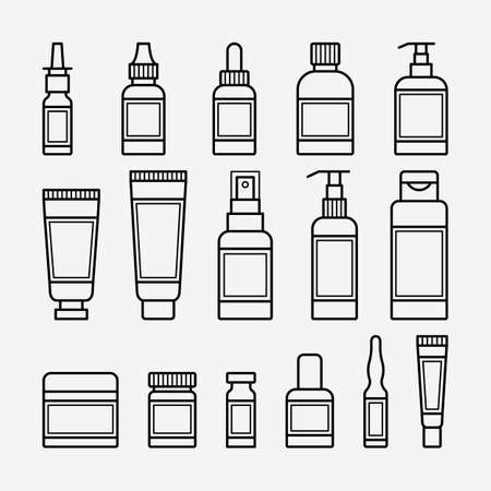 Cosmetics and medical packaging icons set. Vector illustration Illustration