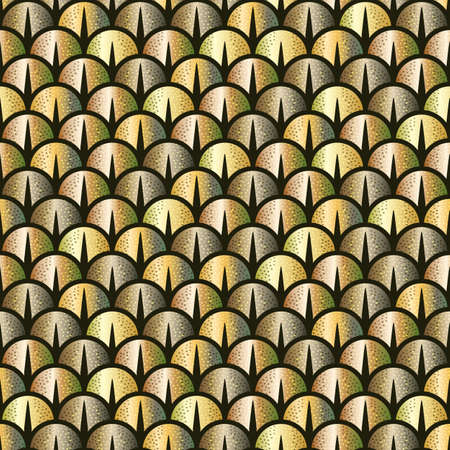 Golden snake or fish scale seamless pattern. Vector background