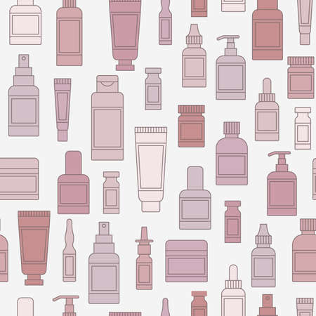 Cosmetics and medical packaging seamless pattern. Vector background Illustration