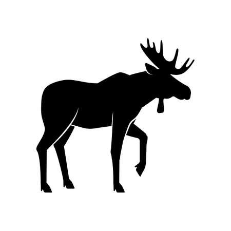 Wild animals. Moose black silhouette on white background. Vector illustration