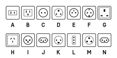 Different types AC power sockets for connect electric equipment. Vector illustration