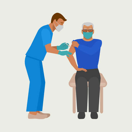 Vaccination of elderly. Nurse gives injection of vaccine to elderly man. Vector illustration