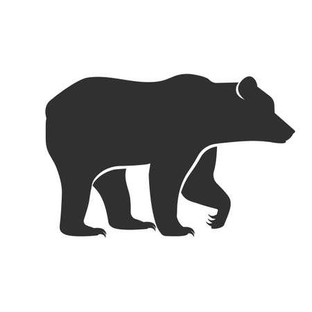 Wild animals. Bear black silhouette on white background. Vector illustration Illustration