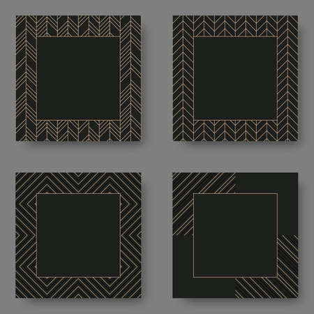 Set of black square banner template with geometric pattern. Vector illustration