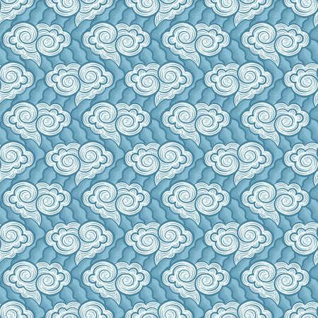 Hand-drawn decorative clouds seamless pattern. Vector illustration Illustration