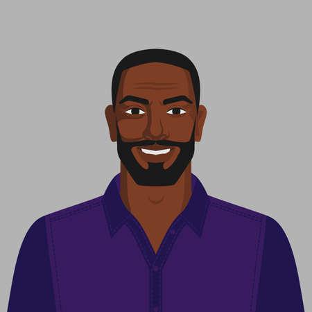 Smiling handsome black man with beard. Vector Illustration