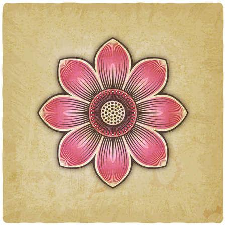Pink lotus flower on vintage background. Vector illustration Illustration