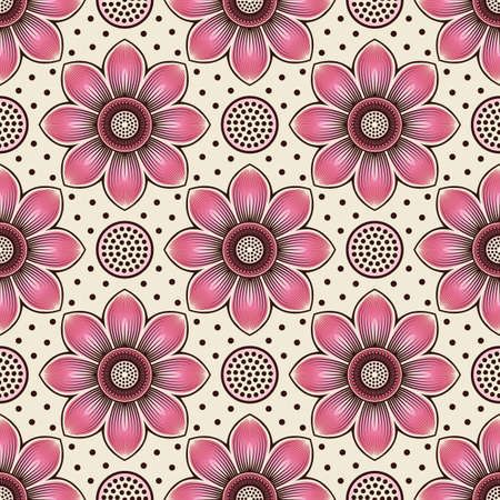Pink lotus flower and seed head seamless pattern. Vector illustration Illustration