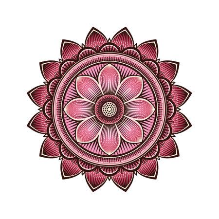 Mandala circular pattern with pink lotus. Vector illustration