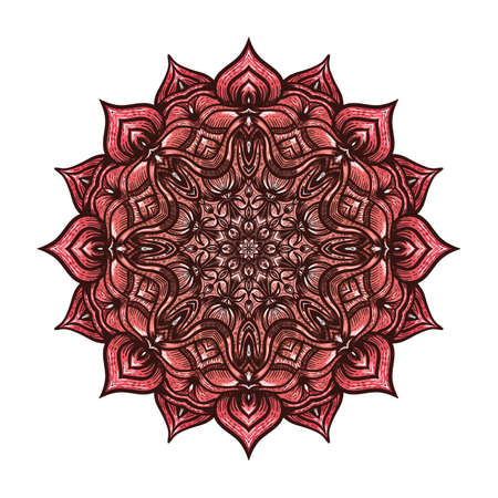 Circular pattern pink floral mandala on white background. Vector illustration Illustration