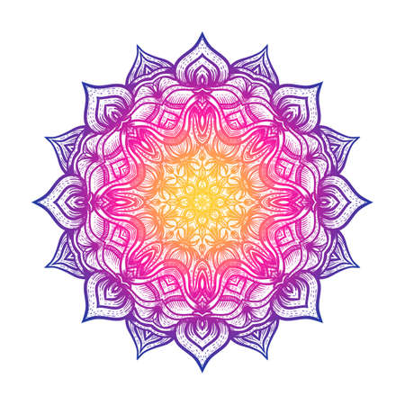 Circular pattern floral mandala on white background. Vector illustration Illustration