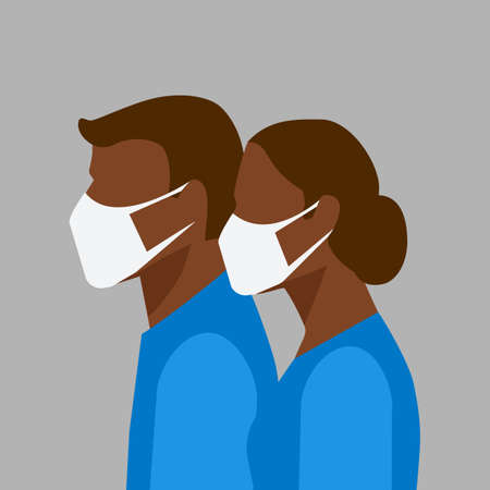 Man and woman in protective masks. Vector illustration