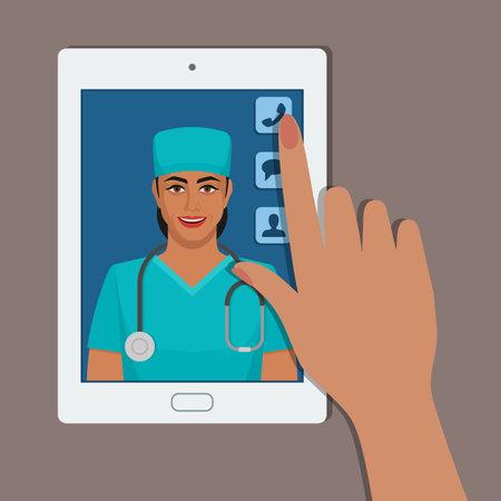 Health care online medical consultation. Vector illustration