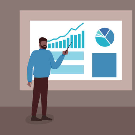 Scientist lecturer speaks at board with chart and diagram. Vector illustration Illustration