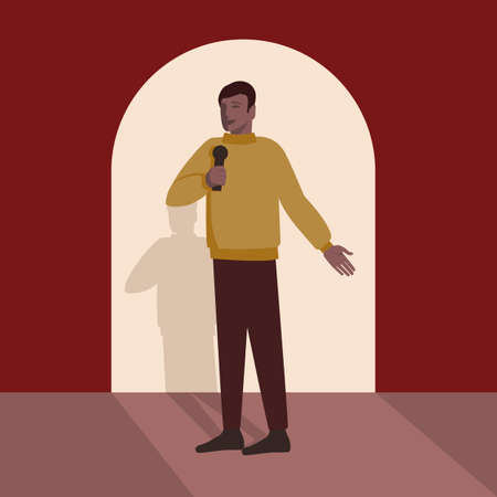 Man with microphone makes speech on stage. Vector Illustration