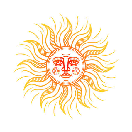 Stylized orange symbol of the sun with face. Vector Illustration