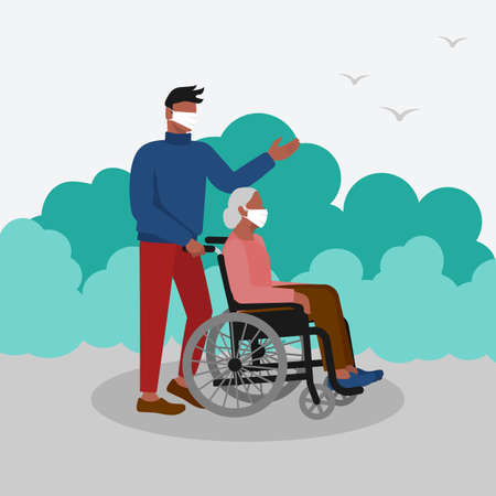 Young man walks in park with elderly woman in wheelchair. Vector Illustration Illustration