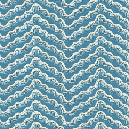 Stylized white waves on blue background seamless pattern. Vector Illustration