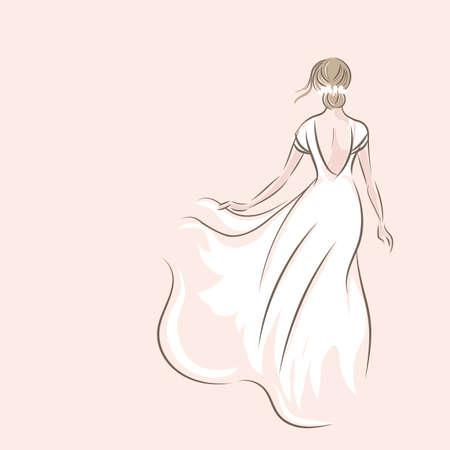 Sketch of bride in white dress on pink background. Vector illustration