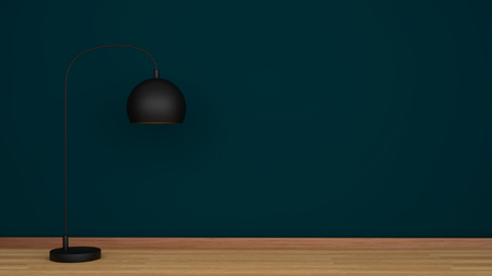 floor lamp: Green wall and wooden floor with black lamp Stock Photo