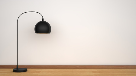 floor lamp: White wall and wooden floor with black lamp