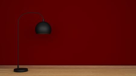 floor lamp: Red wall and wooden floor with black lamp Stock Photo