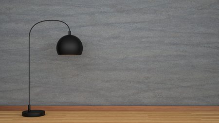 floor lamp: Concrete wall and wooden floor with black lamp