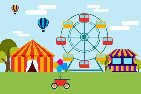 fairground: Flat design of amusement park and canival Illustration